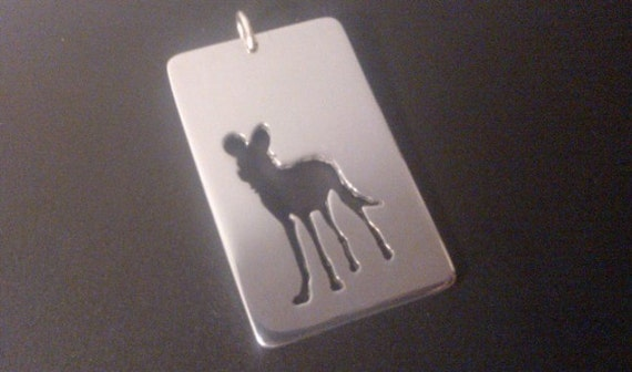 African Wild Dog ( Painted Dog) Negative cut Sterling Silver pendant 45mm
