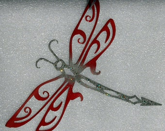 Dragonfly Decor Red and Grey Bejeweled (Set of Three)