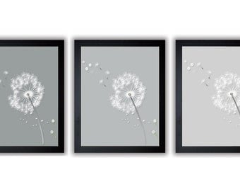 Grey Gray While Dandelion Print Flower Set of 3 White Silhouette Dandelion Art Prints Wall Decor Bathroom Modern Minimalist