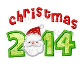 Christmas 2014 applique santa machine embroidery design instant download