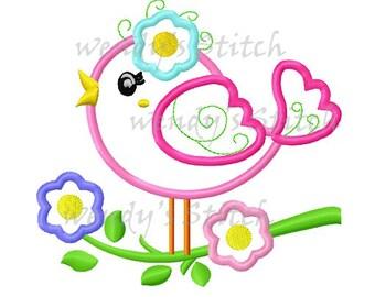 Flower bird applique machine embroidery design digital pattern