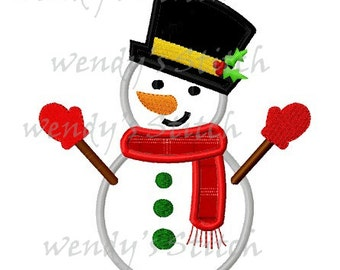 Snowman with mittens machine embroidery design applique