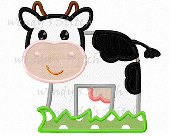 Milk farm cow applique machine embroidery design