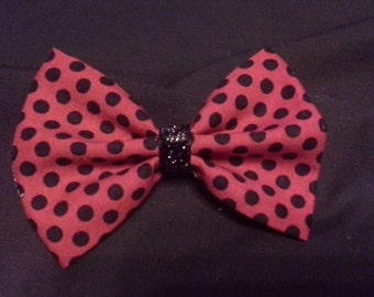 Red and Black Polkadot Hair Bow