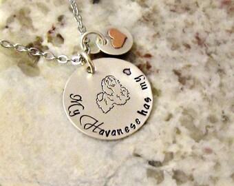Havanese Dog Hand Stamped Sterling Silver Necklace