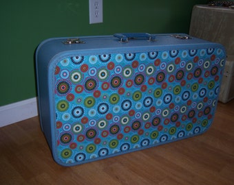 Vintage blue suitcase upcycled,25x14x8, with key