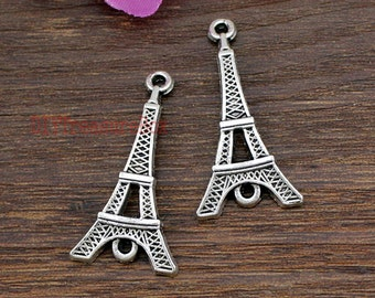 15pcs--Eiffel Tower charms,Antique Tibetan silver Eiffel Tower Charm Pendant ,Paris, France 19x37mm