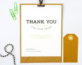 Thank you for your order card printable INSTANT DOWNLOAD - Artistically Linear