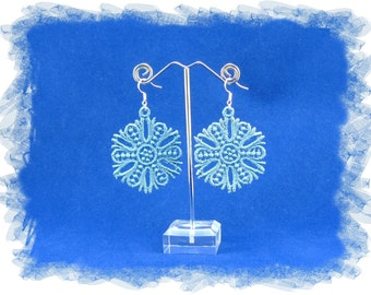 Free Standing Lace (FSL) Embroidery 925 sterling silver earrings - snowflake 1  .  *Please choose your preferred colour*