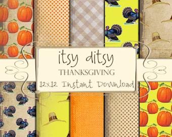 Thanksgiving Digital paper, Thanksgiving scrapbook paper - printable rustic pumpkin pattern, turkey, pilgrim hat background papers