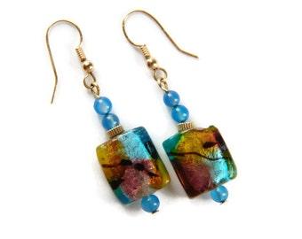 Light Blue Earrings Lampwork Earrings Gold Beaded Earrings Gemstone Earrings Large Dangle Earrings Clearance Sale
