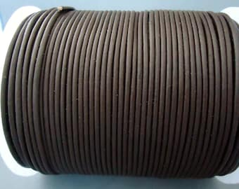 Dark Brown 2 mm leather cord - 25 yards