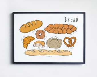 Bread A4 Illustrated Print