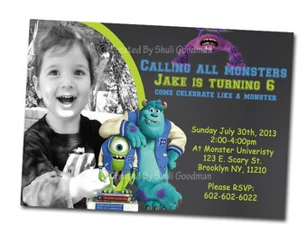 Monster U Birthday Party Invitations - printable - DIY - digital file - MU1