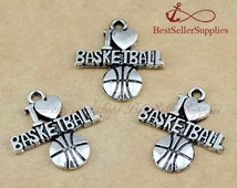 30 PCs - Basketball Charms, Basketball Pendants, I Love Basketball, Cheerleading, Cheerleader, Cheer, Sports Jewelry, Coach Gift, 22*19MM