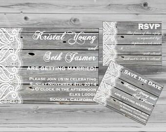 Mountain Wedding Invitation - Wedding Invites - Printable wedding invitation - Rustic Wedding Invite - Barnwood DIY