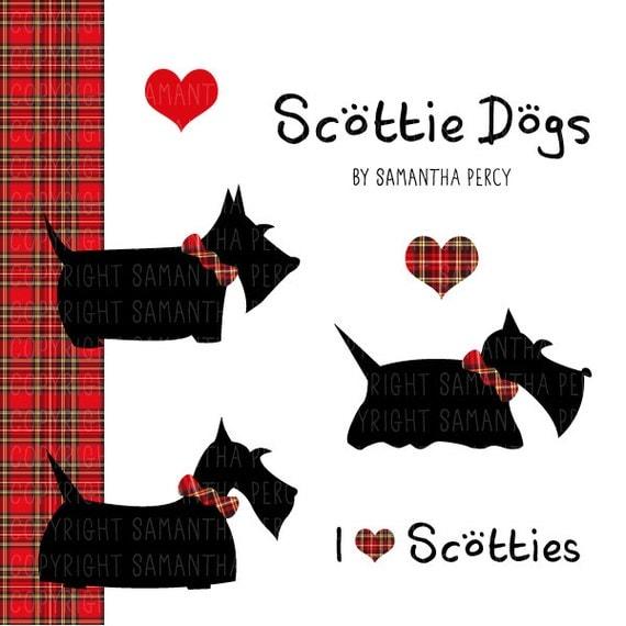 Items Similar To Scottie Dog Clipart And Tartan Digital
