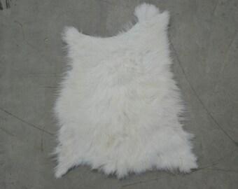 68988- Rabbit Fur Pelt White/Off White Genuine Leather Small (Sec. 1,Shelf 4;A)