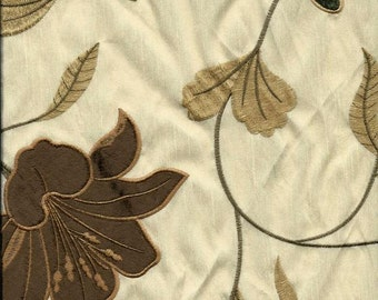 Embroidered Faux Silk  Fabric