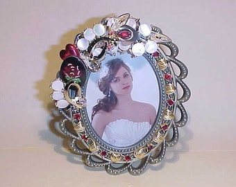 Upcycled Picture Frame Vintage Jewelry Embellished Hearts Mother of Pearl One of a Kind