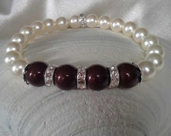 Maroon and White Pearl and Crystal Rondelle Stretch Bracelet embellished with crystals from Swarovski®