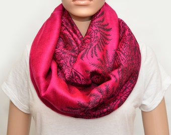Magenta and Black Infinity Scarf with floral pattern