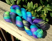 Midnight Firefly - Hand Painted Superwash Merino Yarn - Sparkle Sock