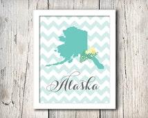 Alaska State Chevron Wall Decor  - Instant Download File
