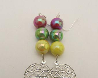 Colorful Beads & Silver Earrings
