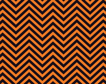 Orange and black chevron craft  vinyl sheet - HTV or Adhesive Vinyl -  zig zag pattern   HTV70