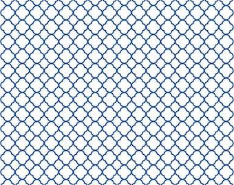 Blue quarterfoil craft  vinyl sheet - HTV or Adhesive Vinyl -  white with blue clover quatrefoil pattern vinyl HTV546