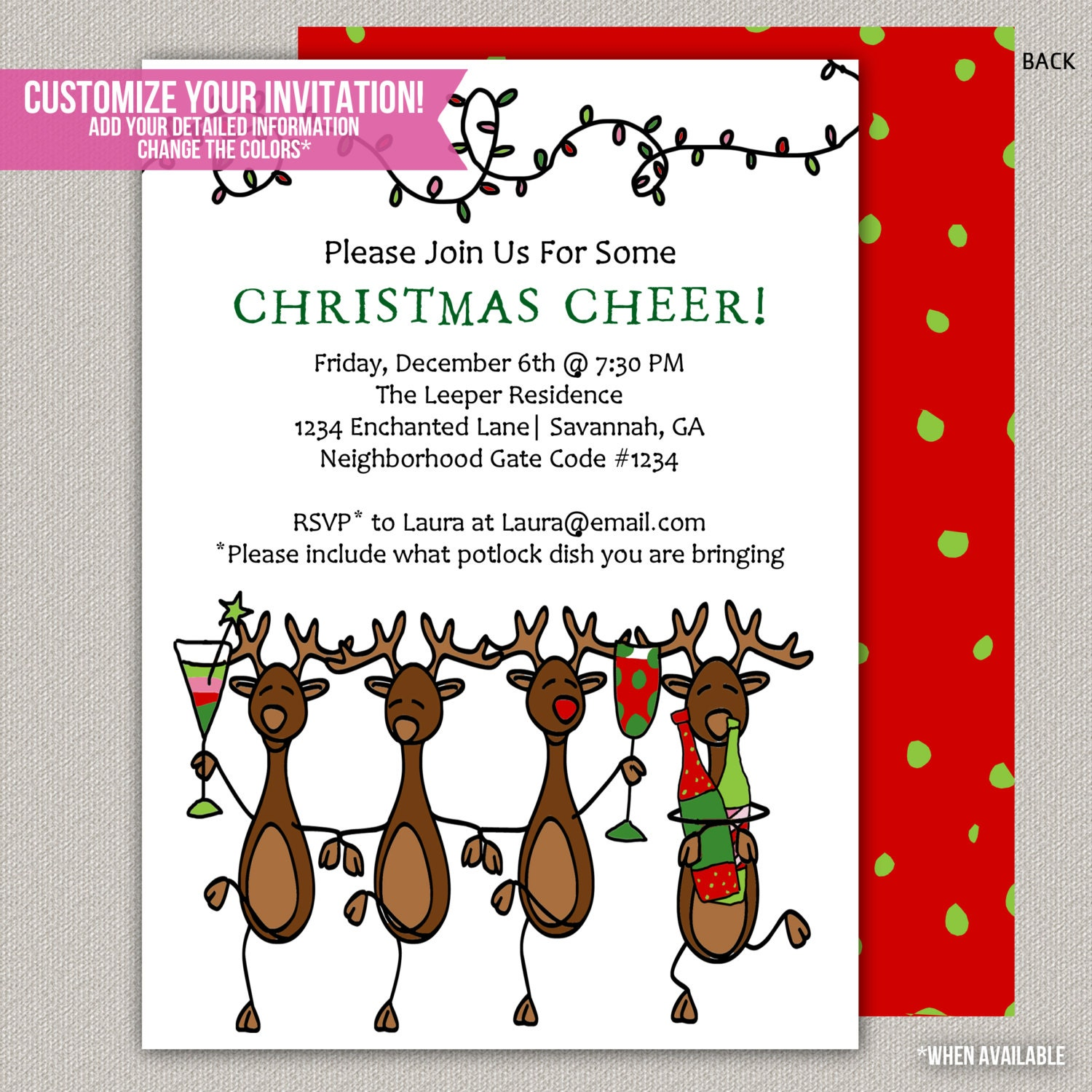 Merry Reindeer Christmas Party Invitation by ...