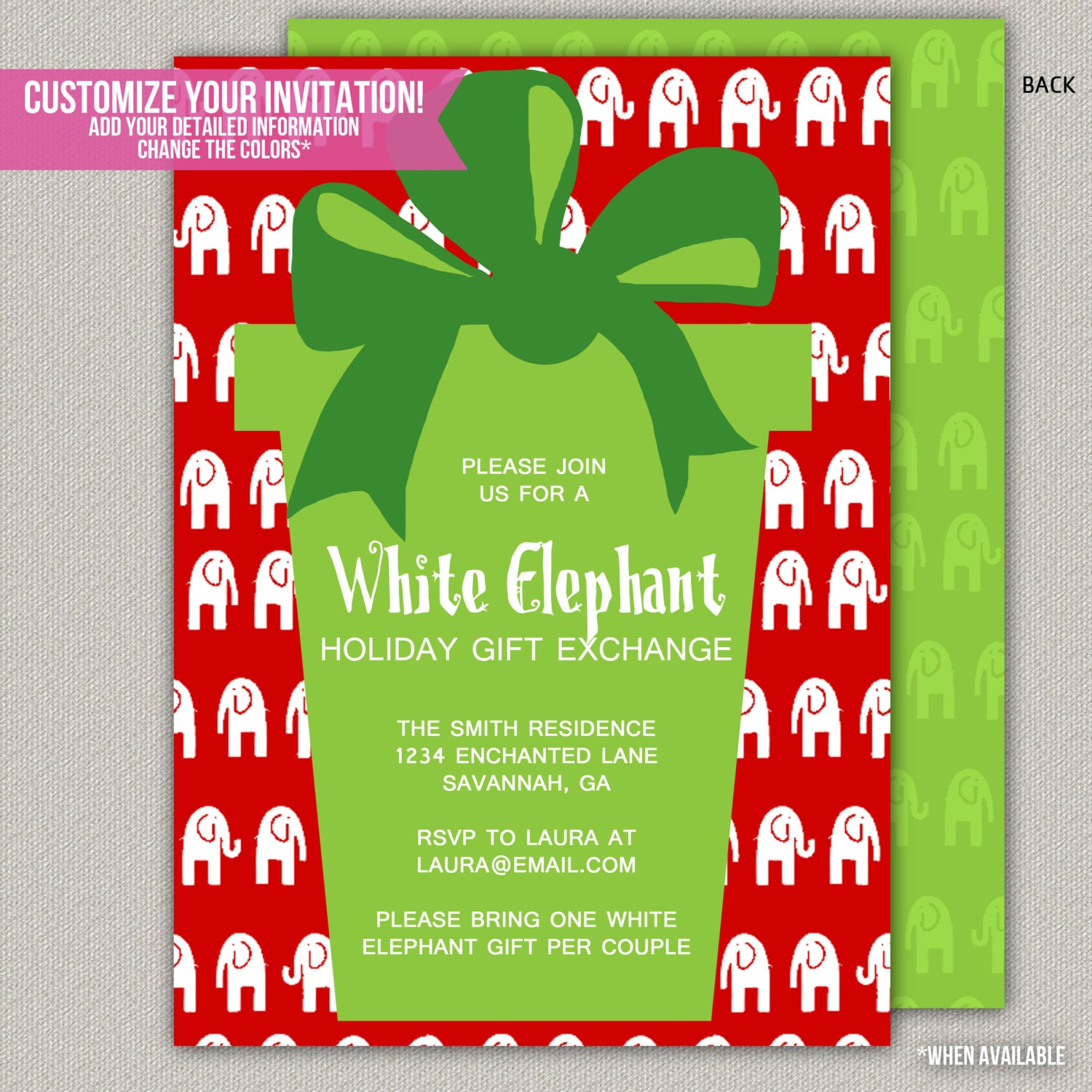 White Elephant Christmas Party Invitation By