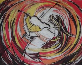 Violin Music Painting. Original Batik Canvas. Painting of Violin. Wall Hanging Art. Painting of Female