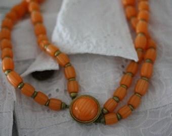 Luscious Tangerine Crown Trifari Vintage Necklace.