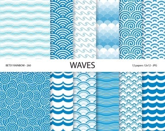 Wave Digital paper, sea, beach, waves, ocean, sea waves, water, blue background paper, scrapbook paper, scrapbooking, 12 papers - BR 260