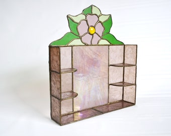 Stained Glass Shelf with Knick Knack Compartments for Miniatures Purple Flower Art Nouveau