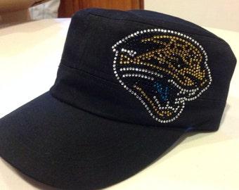 Rhinestone Jacksonville Jaguars Black Military/Hat Cap