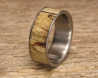 Spalted Maple Titanium Wedding Band or Ring