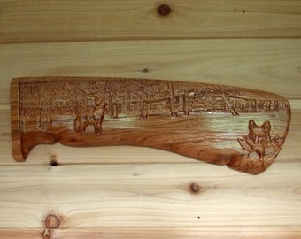 Rifle Handle, Wolf Wood Carving, Gift for Hunter, Gift for Him, Wood Carving Wood Wall Art, Cabin Decor Wolf, Wood Carving Wolf, Rustic