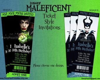 Disney Maleficent Party Invitations - Ticket Style - Printable and Customized with your party details. Digital File.