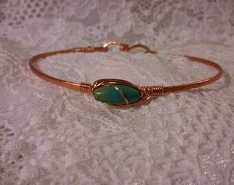 Hammered Copper Bracelet, Hammered Copper Bangle, Copper and Turquoise Bracelet, Stackable Bracelet