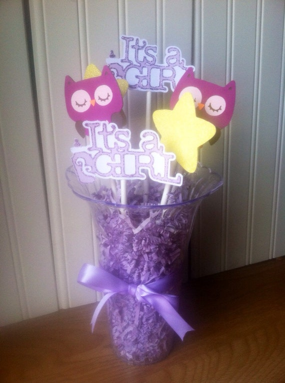 Owl baby shower centerpiece purple it s girl