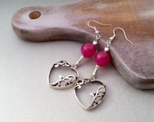 Red hearts earrings delicate christmas gift idea for her valentines gift package fuchsia jade - MKedraDecoupage
