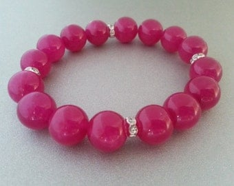 Wonderful fuchsia jade bracelet with zircons spacers great gift idea for her