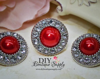 5 Pcs RED Rhinestone Pearl Buttons Plastic Acrylic Christmas Buttons Embellishments Clear Rhinestone Flower Centers  21mm 466035
