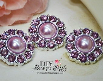Lavender Rhinestone Pearl Buttons Pearl Rhinestone Buttons Scrapbooking Embellishments Flower Centers Craft Supplies 25mm 612035