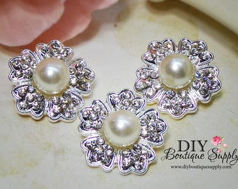 White Pearl buttons with Rhinestone Crystal Buttons Bridal Supplies flower centers hair bow centers invitations crystal bouquet 25mm 748065