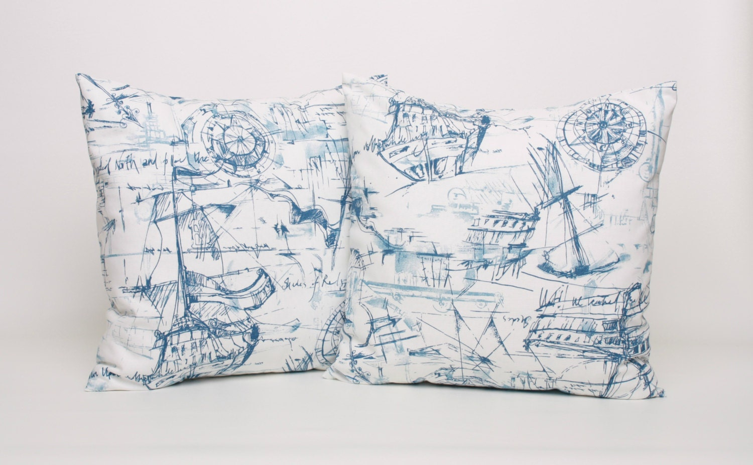 Nautical Coastal Throw Pillows : Nautical Throw Pillow Cover PAIR Blue and by DimensionsHomeDecor