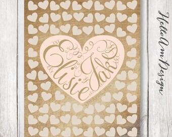 Rustic Wedding - burlap wedding - Sweet Heart Wedding Guest Book - Wedding Poster -Wedding Guest Book -Guestbook  -unique wedding GuestBooks